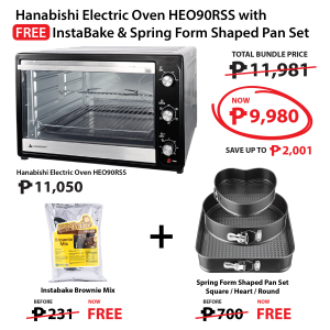 Hanabishi Electric Oven HEO90RSS + HICAPS Instabake Brownie Mix 1kg FREE + 3 Spring Form Shaped Pan Set FREE