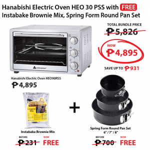 Hanabishi Electric Oven HEO 30 PSS + Spring Form Round Pan Set FREE + HICAPS Instabake Brownie Mix 1kg